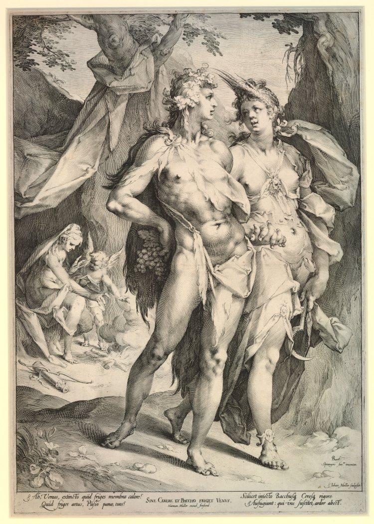 Spranger 1590 gravure de Muller Sine Cerere et Baccho friget Venus