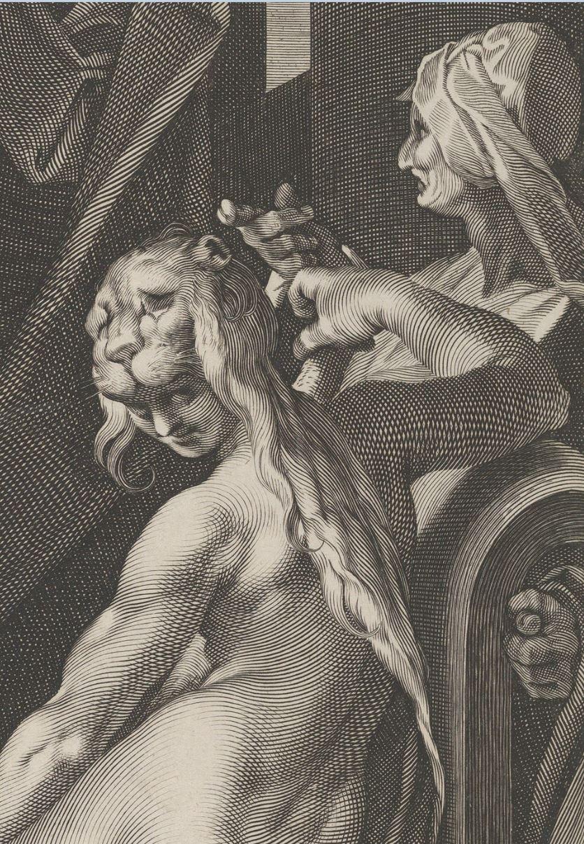 Spranger 1600 ca gravure de Sadeler Hercule et Omphale MET detail