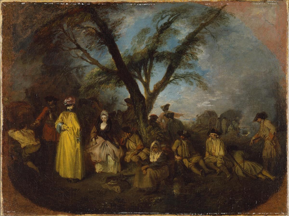 Watteau 1710 ca La halte Musee Thyssen Bornemiza Madrid