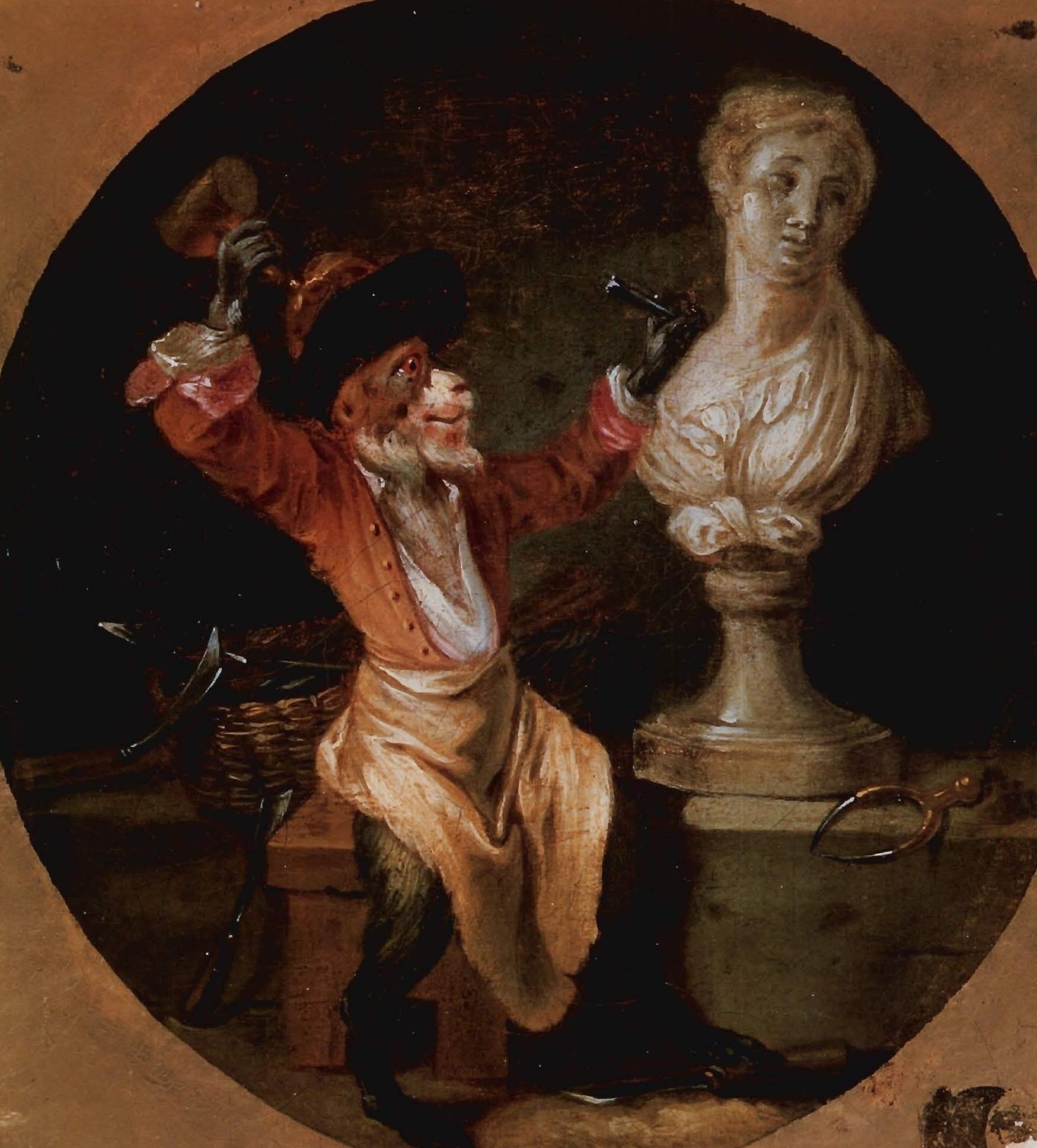 Watteau, Le Singe sculpteur, vers 1710, Orleeans, Musee des Beaux-Arts