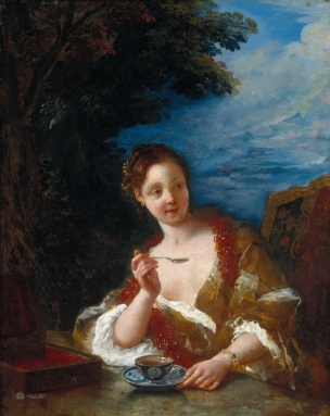 de Troy 1723,Jeune femme buvant du cafe Gemaldegalerie Berlin
