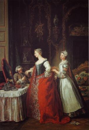 de Troy, 1734, Dame a sa toilette recevant un cavalier coll part