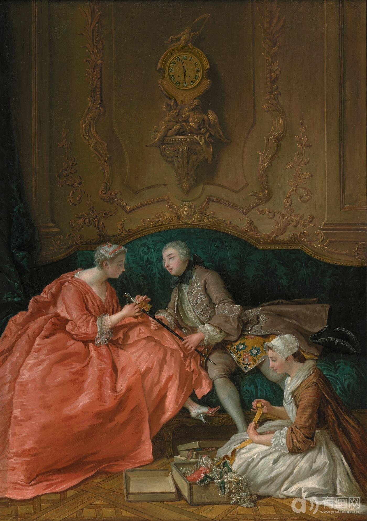 de Troy, 1734, Dame attachant un ruban a l epee d un cavalier coll part