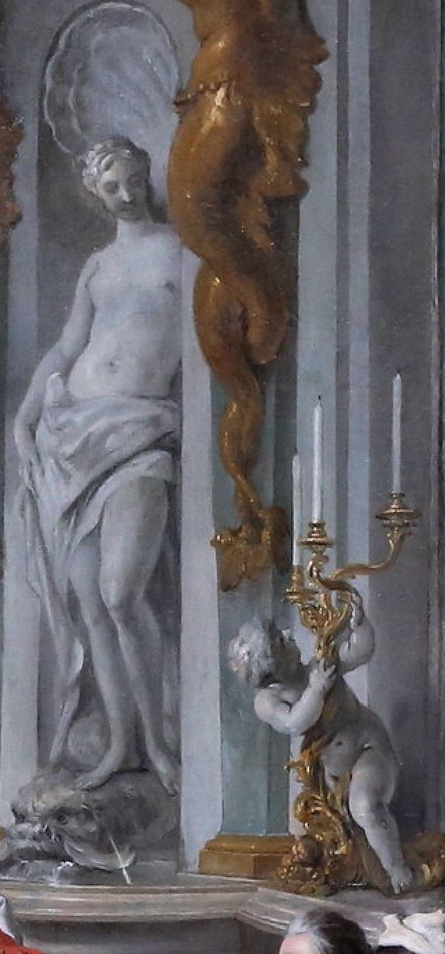de Troy 1735 Le dejeuner d'huitres Musee Conde Chantilly photo J L Mazieres detail venus