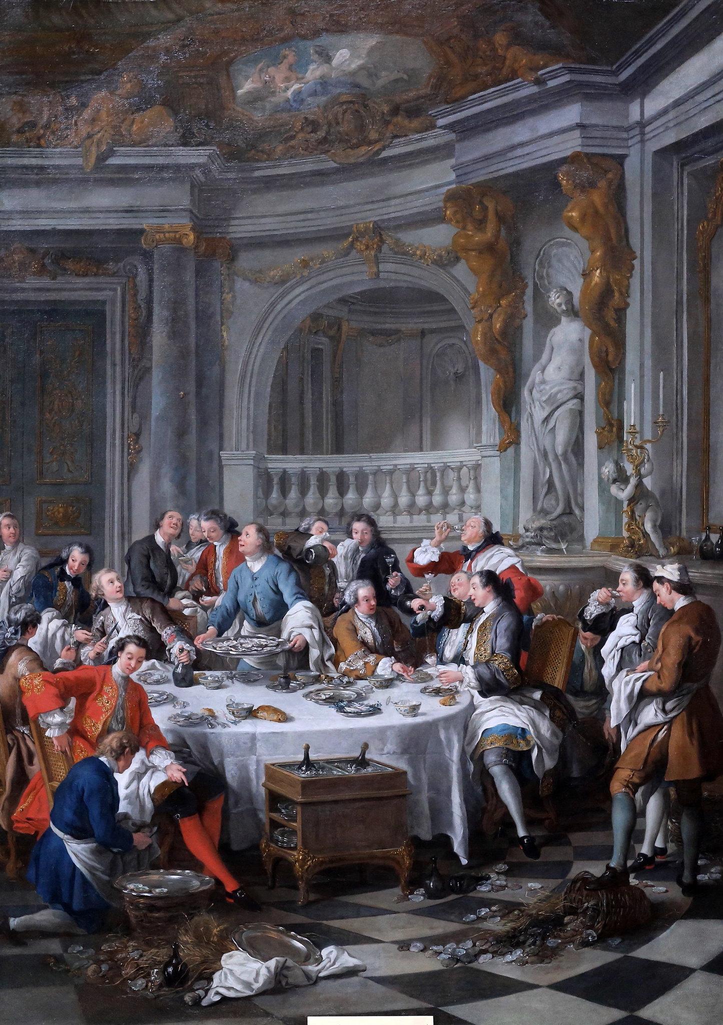 de Troy 1735 Le dejeuner d'huitres Musee Conde Chantilly photo J L Mazieres