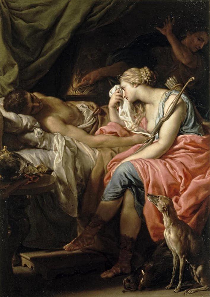 Batoni Pompeo 1740-43 Atalante pleurant Meleagre Collection privee