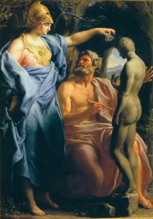 Batoni Pompeo 1740-43 Promethee faconnant l'Homme avec de la glaise Collection privee