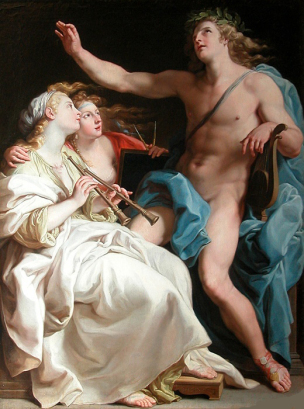 Batoni Pompeo 1740 Apollon, la Musique et la Metrique Collection privee