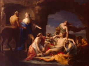 Batoni Pompeo 1768-70 Thetis Takes Achilles from the Centaur Chiron Ermitage Saint Petersbourg