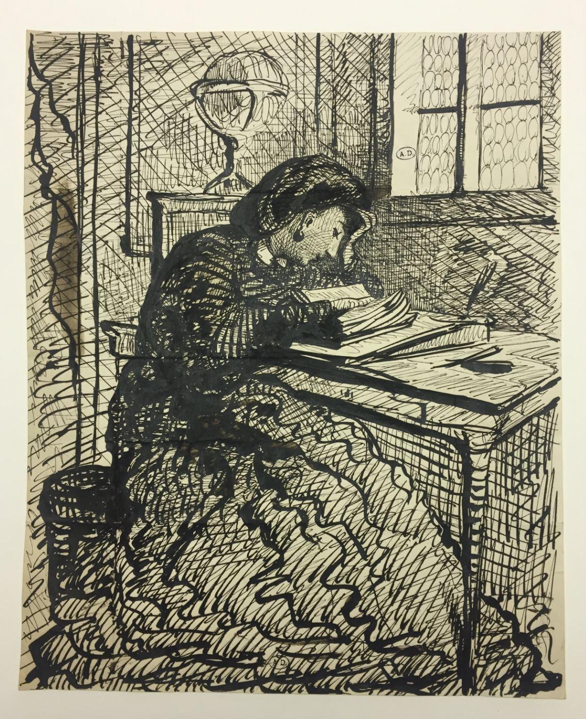 Juie Duvidal ecrivant Leopold Armand Hugo copyright Musee des Arts Decoratifs Paris JPG