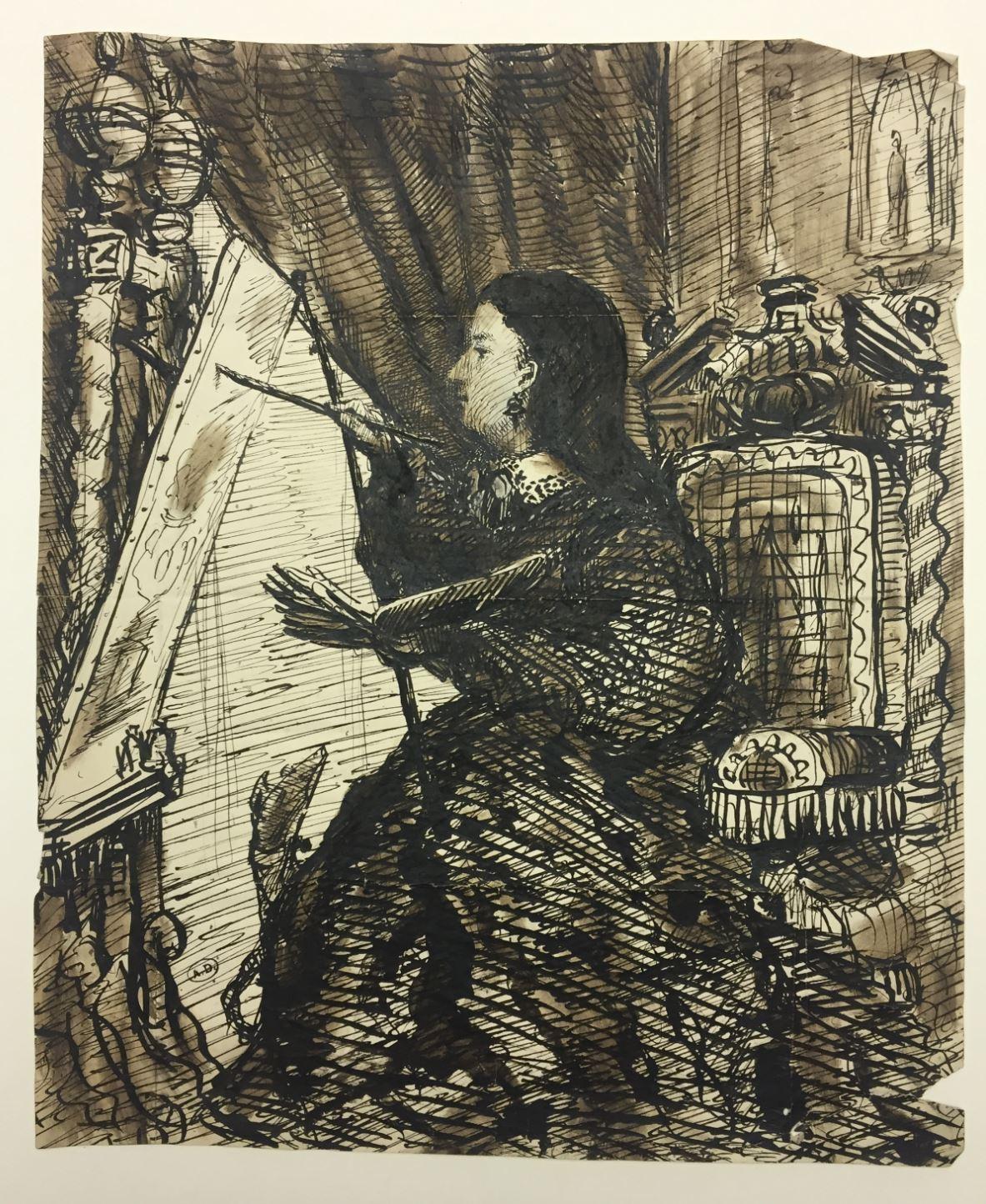Juie Duvidal peignant Leopold Armand Hugo copyright Musee des Arts Decoratifs Paris JPG