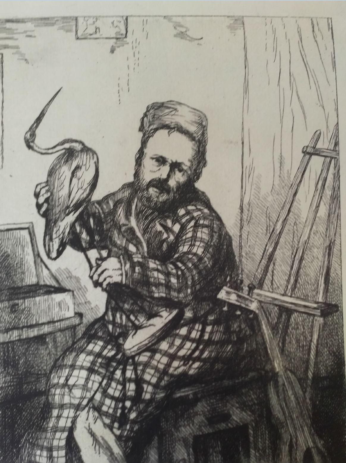 Leopold Armand Hugo BNF Autoportrait en ornithologue detail 1