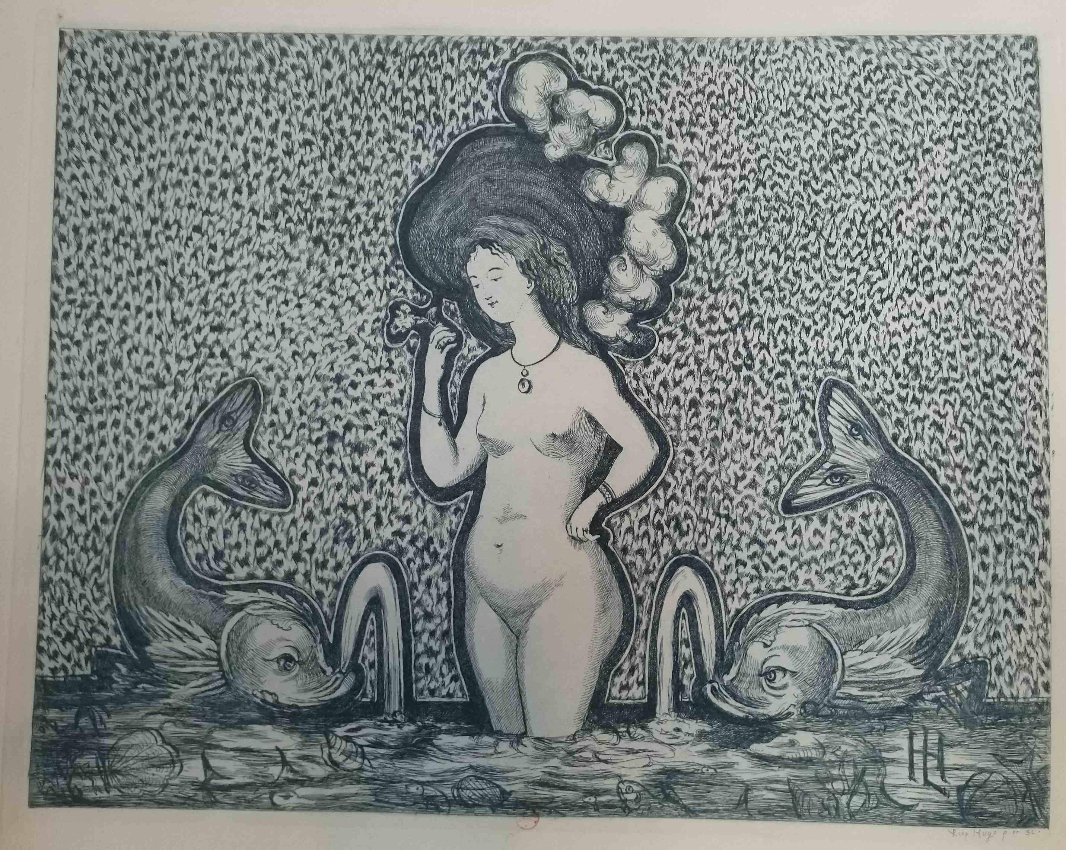 Leopold Armand Hugo BNF Femme nue entre deux dauphins