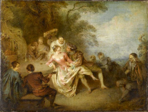 Pater A12a REUNION D'ACTEURS DE LA COMEDIE ITALIENNE DANS UN PARC Louvre