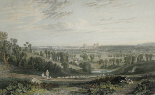 Turner 1812 Vue d'Oxford depuis Abington Road gravure de John Pye 1818