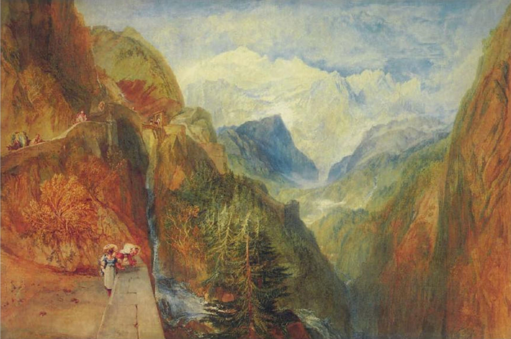 Turner 1814 Le Mont Blanc vu de Fort Rock, Val d'Aoste, Piemont Coll priv
