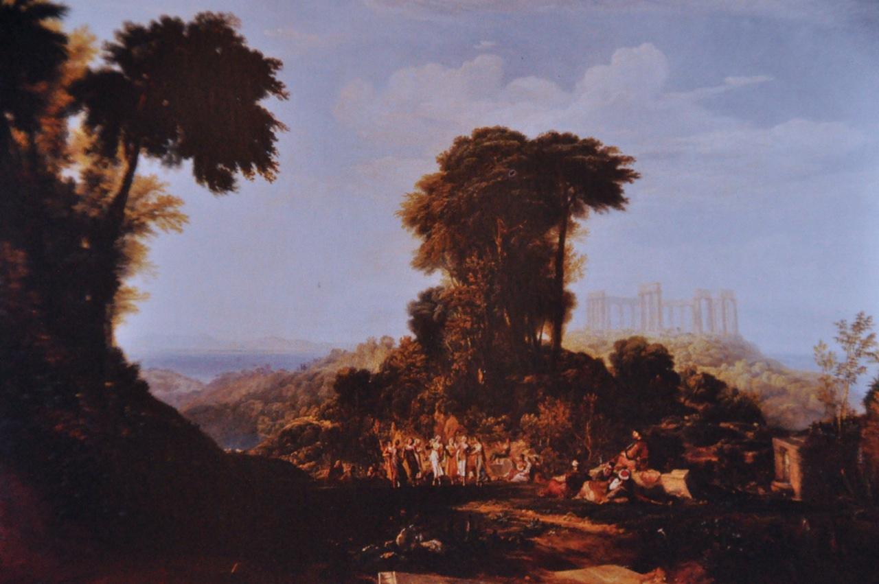 Turner 1816 Vue du temple de Jupiter pannellenius dans l'ile dEgine Alnwick Castle