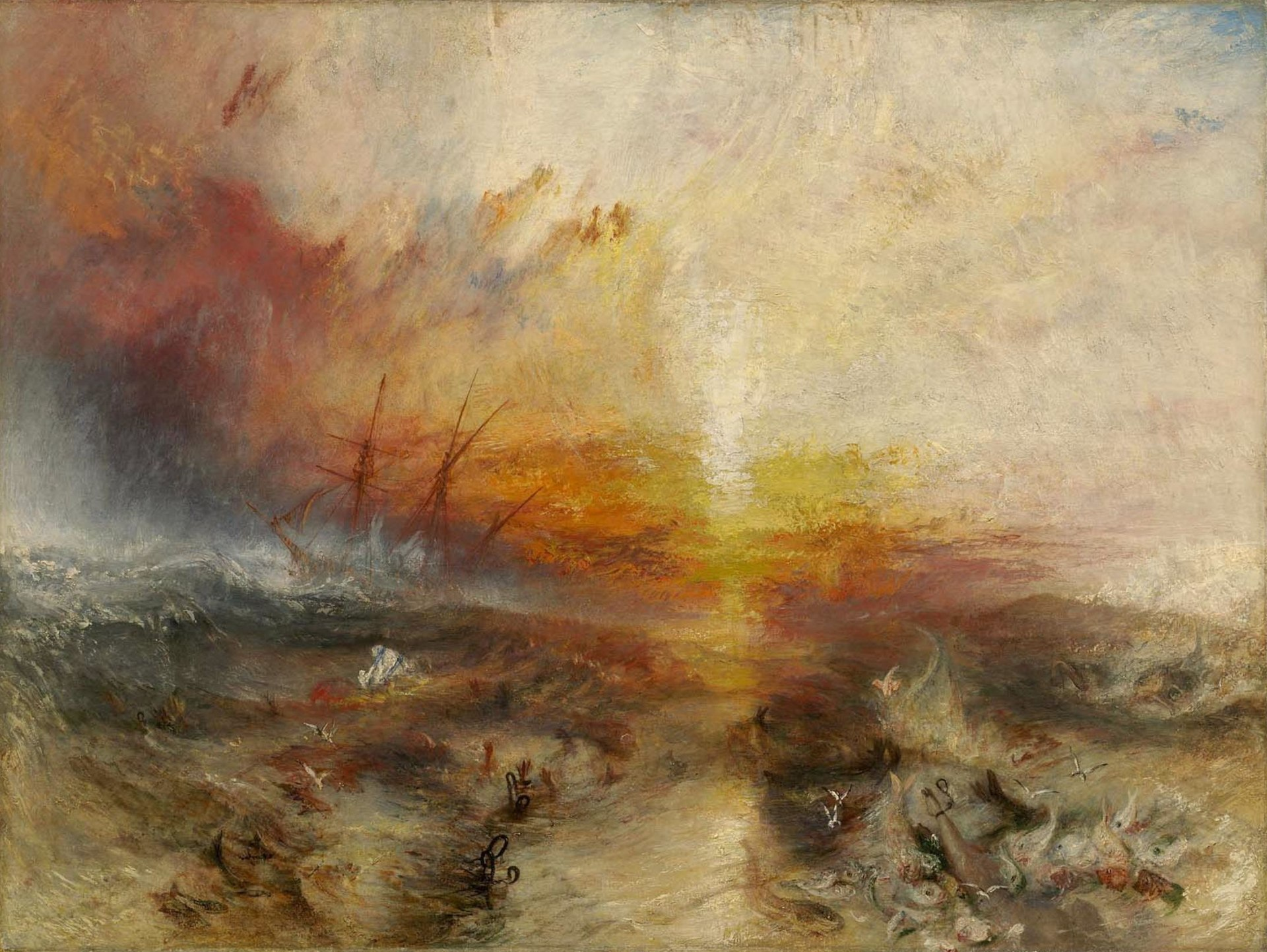 Turner 1840 Slavers throwing overboard the Dead and Dying — Typhoon coming on (The Slave Ship) Boston Mueum of Fine Arts