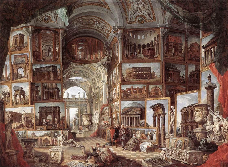 pannini V1a 1758 galerie-de-peinture-avec-vues-de-la-rome-antique- Staatsgalerie, Stuttgart
