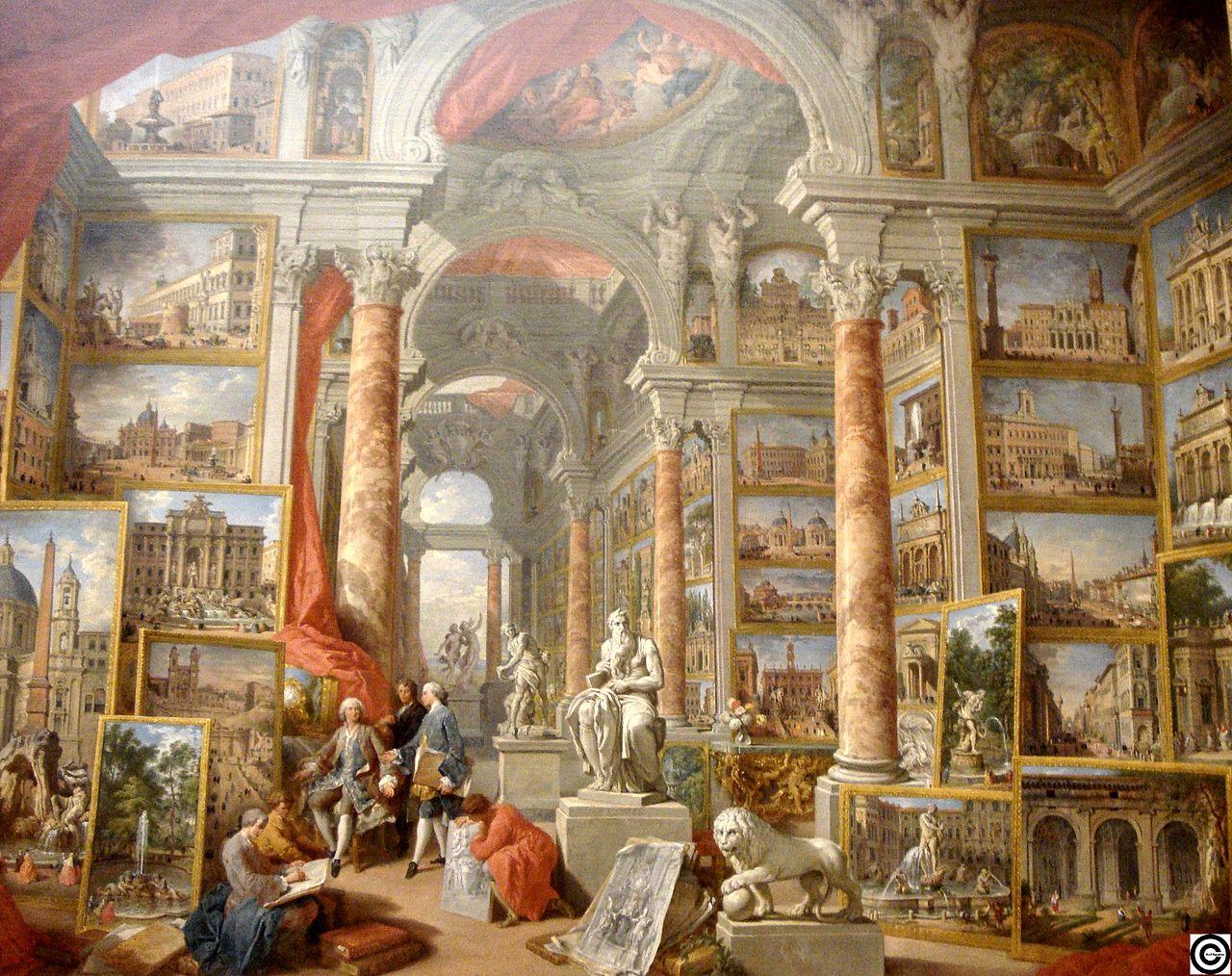 pannini V2b 1758 galerie-de-peinture-avec-vues-de-la-rome-moderne-MET New York.