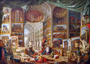 pannini V3a 1758 galerie-de-peinture-avec-vues-de-la-rome-antique-Louvre