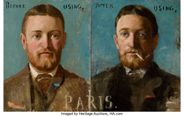 BeforeAfter Portraits of L. A. Plummer F.W.Benson et J.L.Smith, 1883-85, coll priv