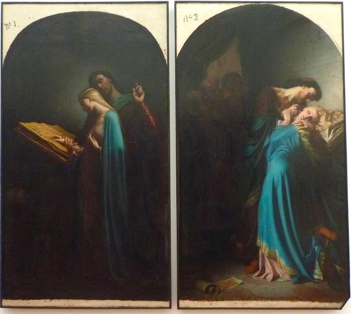 Billardet 1847 Abelard instruisant Heloise et Heloise et Abelard surpris par Fulbert, Musee des BA Nantes