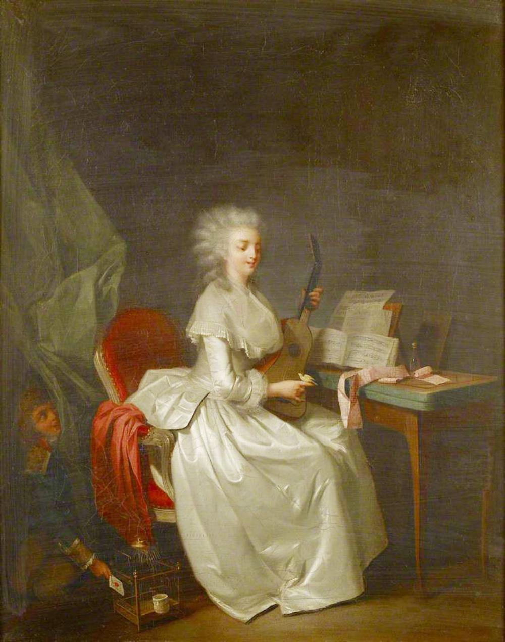Boilly 1785-88 Jeune femme a la guitare tenant un oiseau dans sa main Ashmolean Museum Oxford
