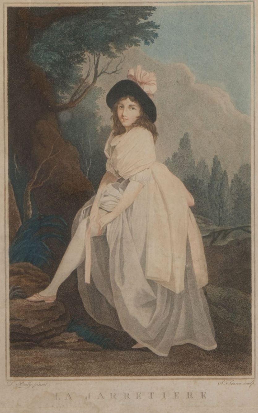 Boilly 1789-93 La jarretiere gravure de Tresca