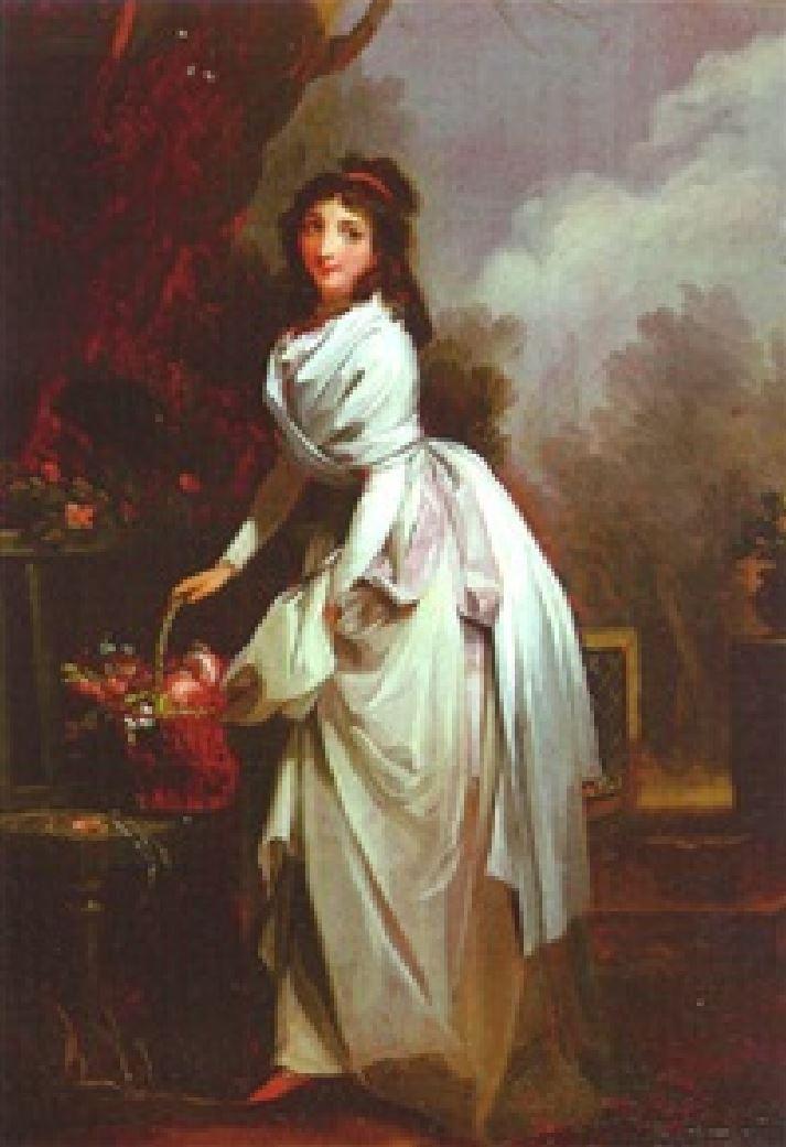 Boilly 1789-93 la jardiniere (Jeune femme deposant un panier de fleurs sur un banc)