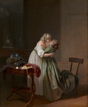 Boilly 1790–94 Deux jeunes femmes s'embrassant, The Ramsbury Manor Foundation. Photo (c) courtesy the Trustees.