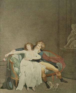 Boilly 1791 La dispute de la rose gravure Eymar