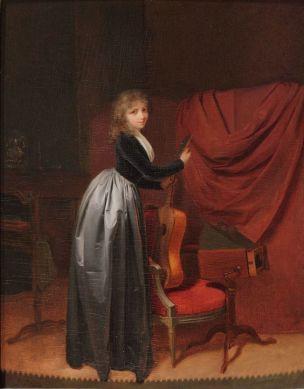 Boilly 1793-96 Jeune femme a la guitare coll part