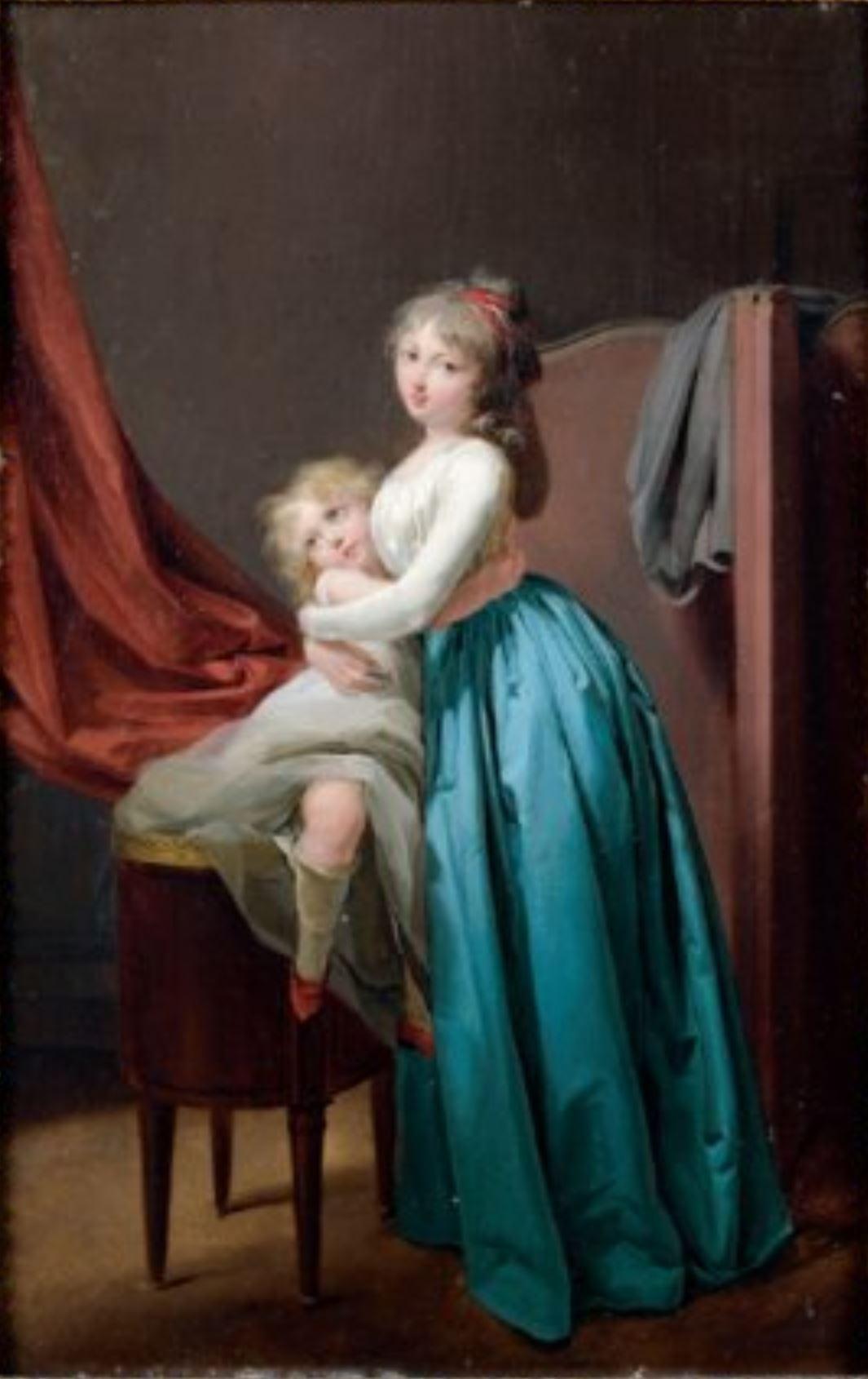 Boilly 1793-96 Jeune femme a la robe bleue prenant son enfant dans les bras coll part