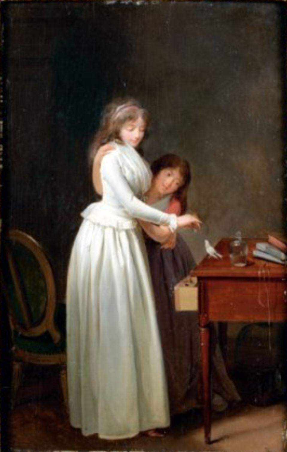 Boilly 1793-96 Jeune mere et sa fille donnant la becquee a un oiseau coll part