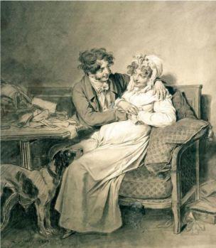 Boilly 1807 La tendresse conjugale dessin coll priv