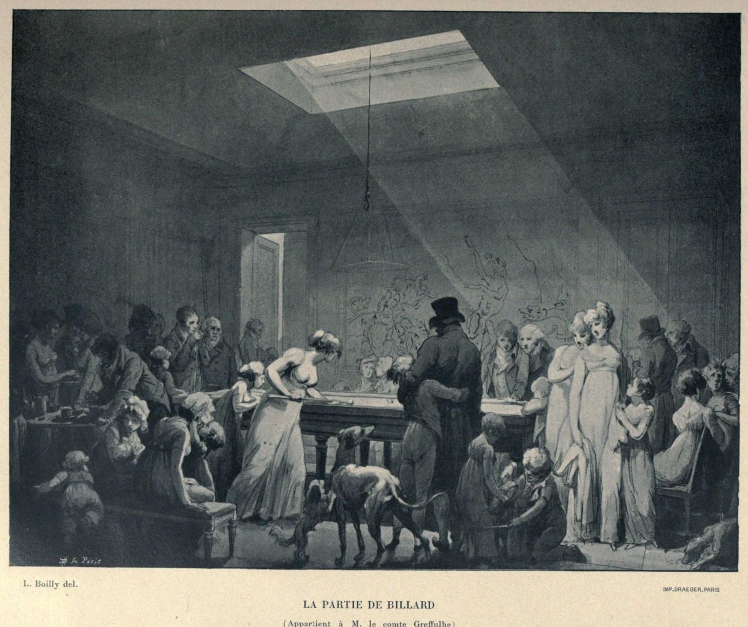 Boilly 1808 La partie de billard dessin preparatoire