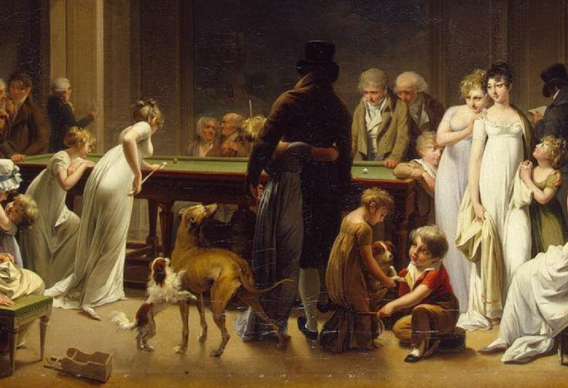 Boilly 1808 Le jeu de billard Ermitage detail