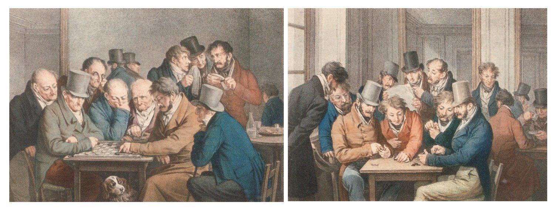 Boilly 1810 Le jeu de dames Le jeu de dominos lithos de Lemercier