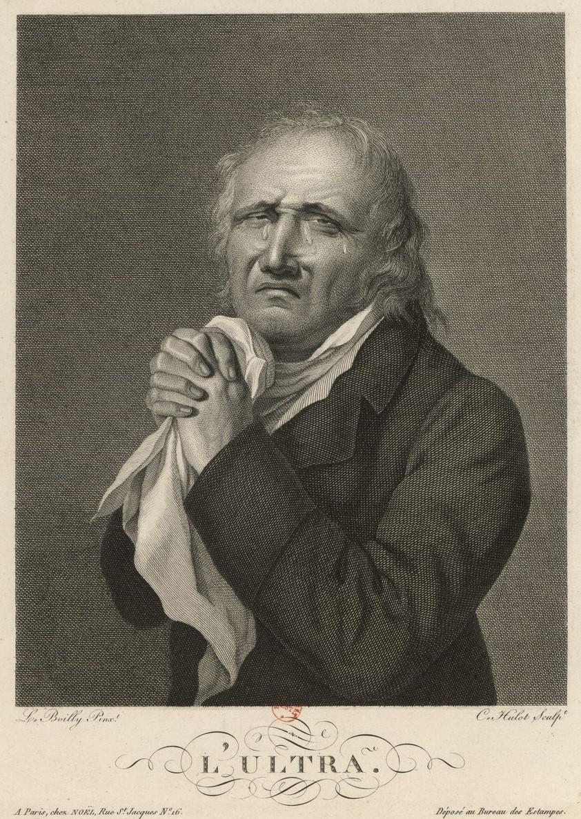 Boilly 1818 L'Ultra a mi-corps, pleure sa defaite aux elections d'octobre 1818 et le triomphe du parti liberal grav Hulot Caroline Gallica