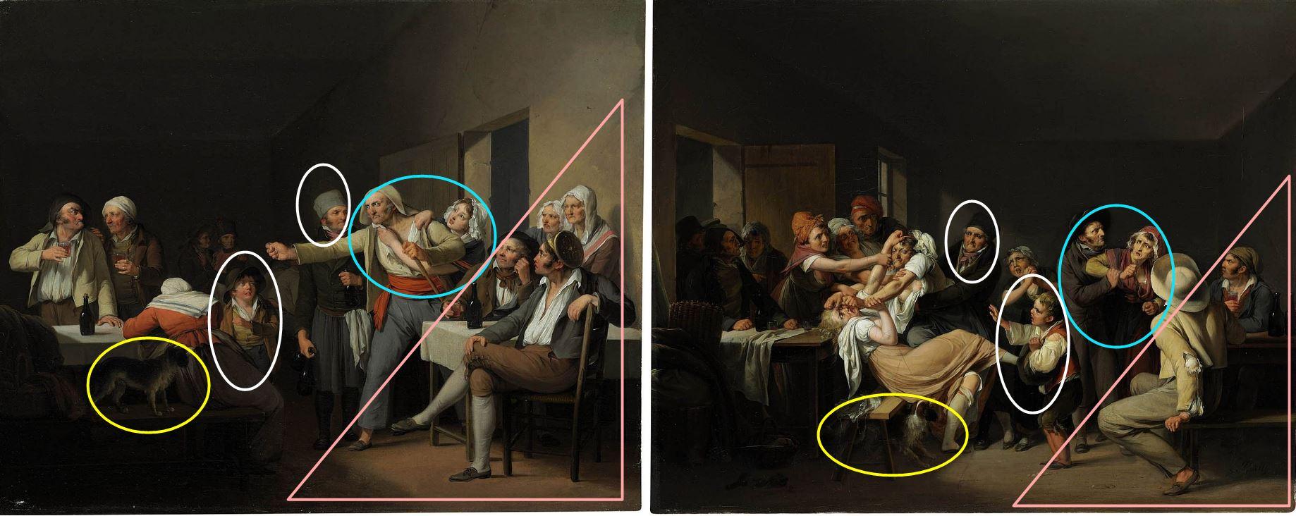 Boilly 1818-_Les Femmes Les hommes se battent schema