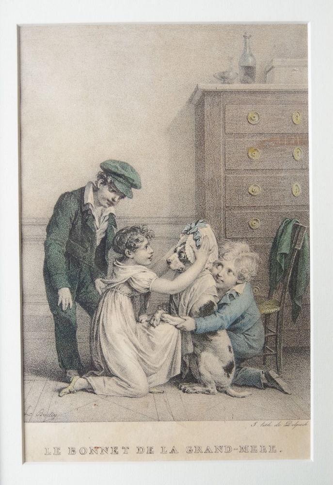 Boilly 1825 ca Le bonnet de la grand mere litho de Delpech