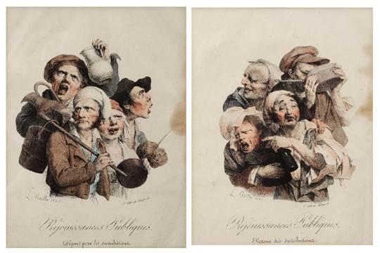 Boilly 1826 Rejouissances publiques Depart pour et retour de la distribution Les grimaces