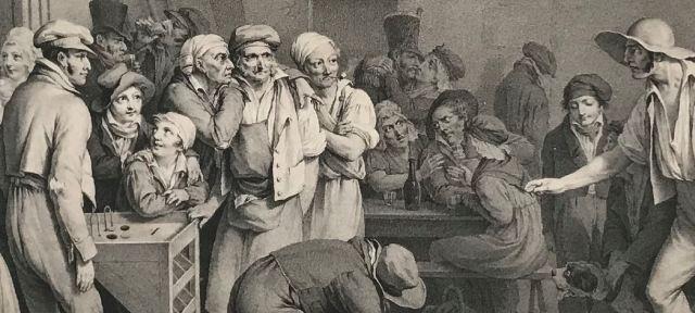Boilly 1828 Le jeu de tonneau detail