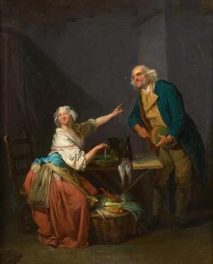 Boilly Vieillard presentant un melon a une fruitiere Coll priv