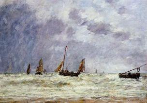 Boudin 1890 Berck le depart des barques Musee des Beaux-Arts de Reims