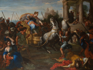 Chiari Giuseppe Bartolomeo avant 1687 Tullia driving her Chariot over her Father,Burghley House