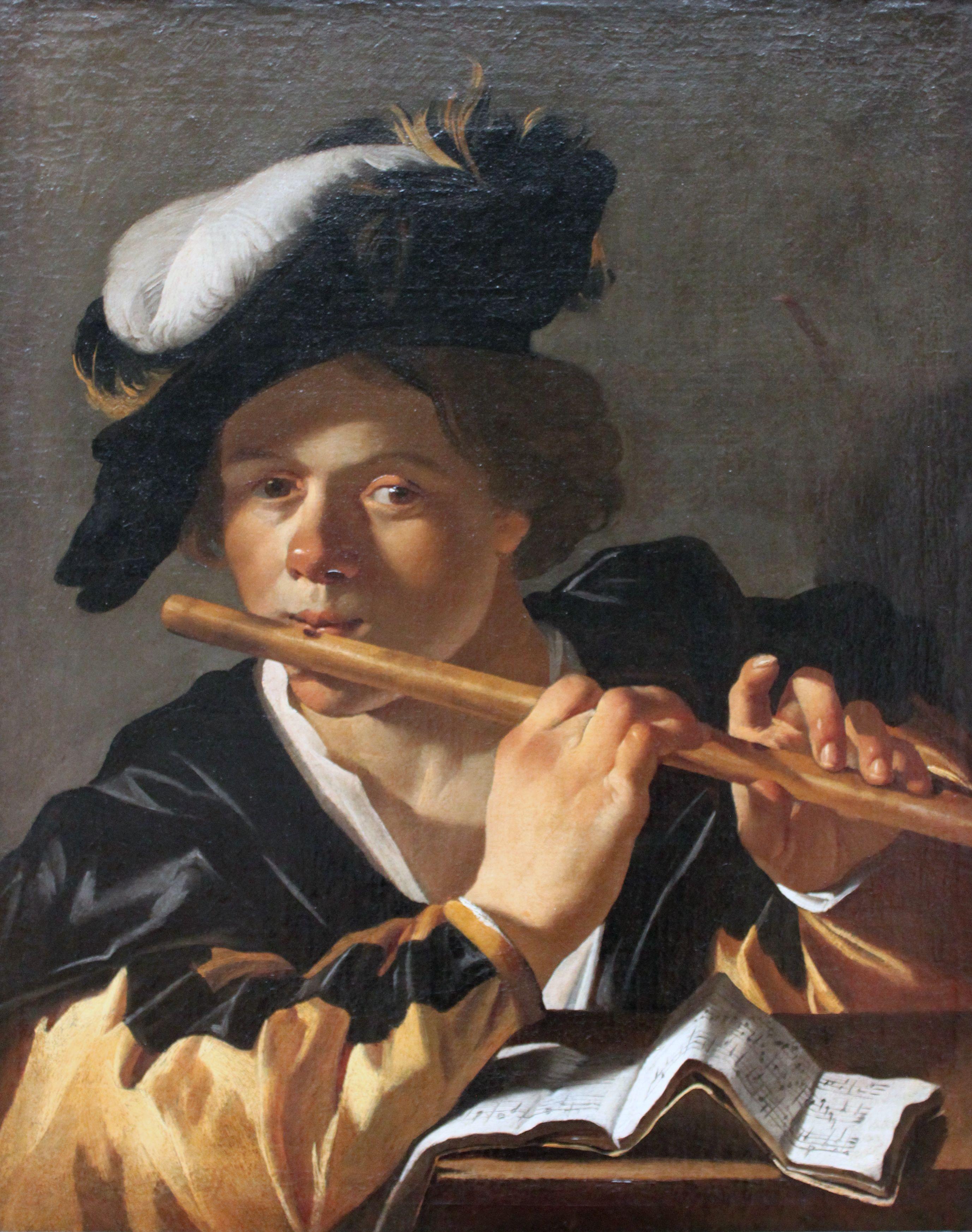 Dirck van Baburen,1620. Joueur de flute, Berlin, Gemaldegalerie