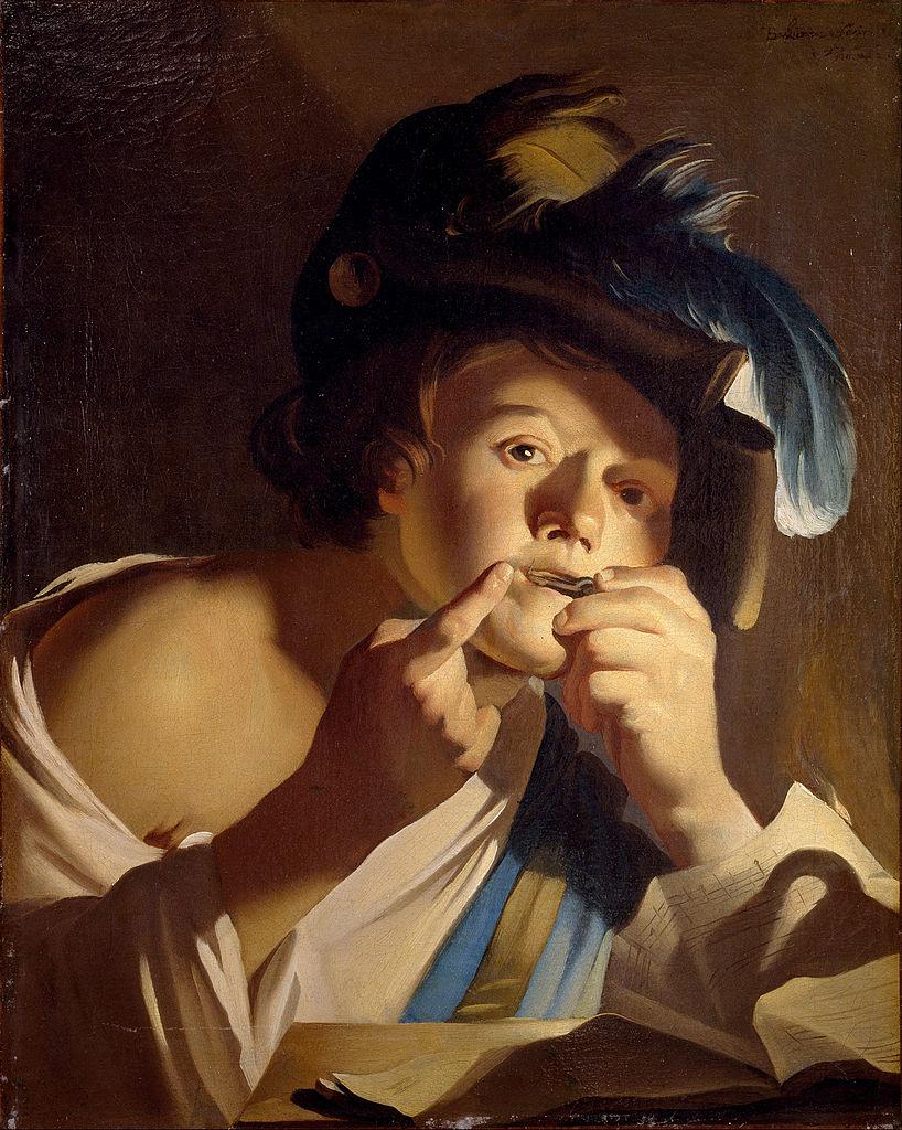Dirck van Baburen,1620. Joueur de guimbarde, Centraal Museum Utrecht
