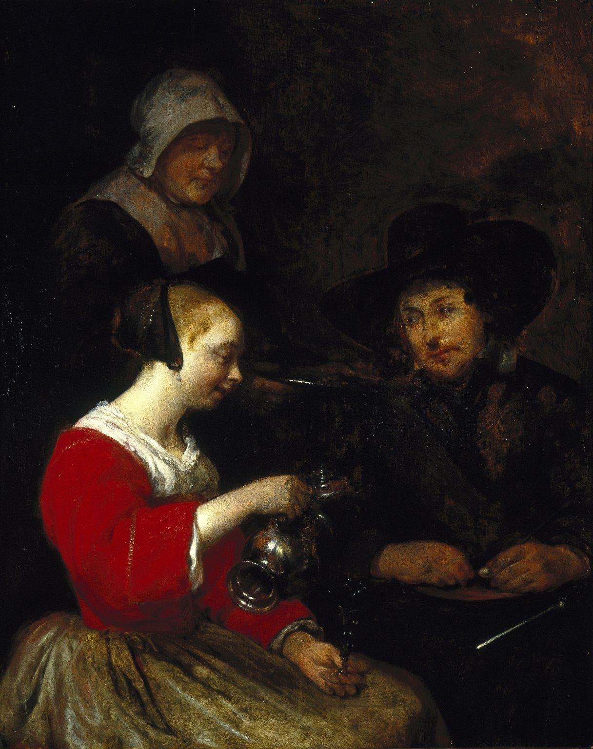 Gerard_ter_Borch 1650 ca Jeune_Hollandaise_versant_à_boire Brooklin Museum